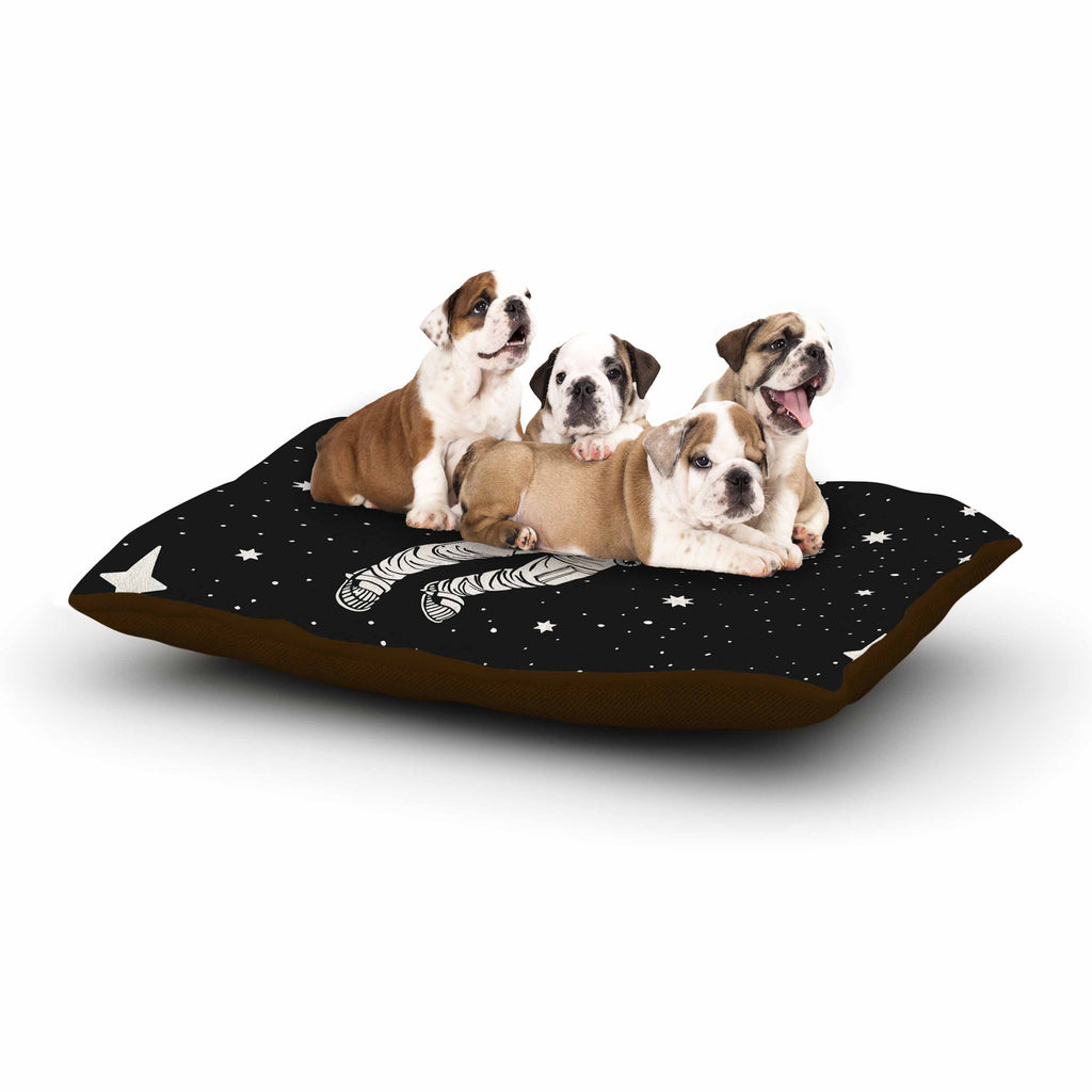 "Kess Original ""Space Adventurer"" Black Fantasy Dog Bed - KESS InHouse  - 1"