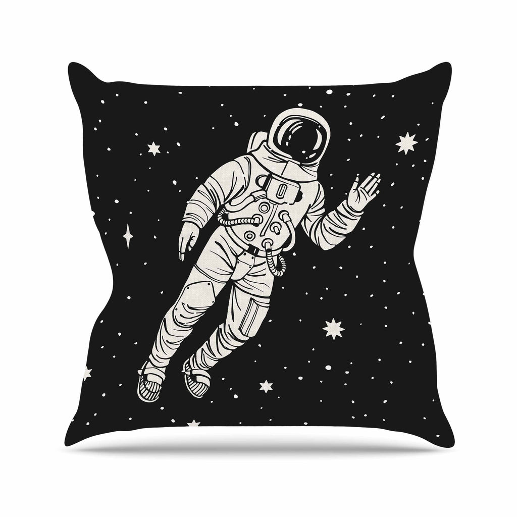 "Kess Original ""Space Adventurer"" Black Fantasy Outdoor Throw Pillow - KESS InHouse  - 1"