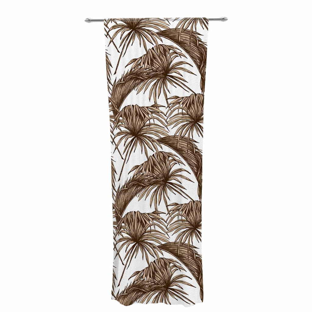 "Kess Original ""Palmtastic Tan"" Brown Abstract Decorative Sheer Curtain - KESS InHouse  - 1"