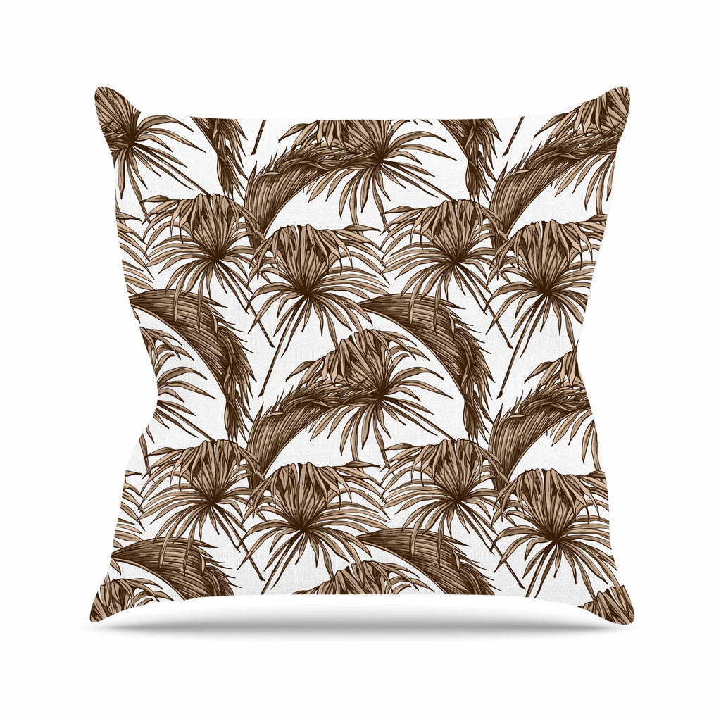 "Kess Original ""Palmtastic Tan"" Brown Abstract Throw Pillow - KESS InHouse  - 1"