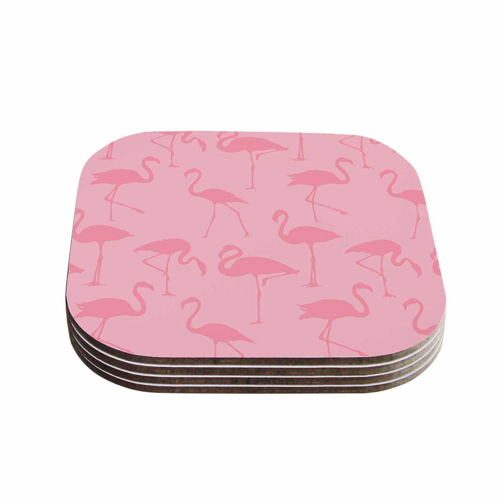 "Kess Original ""Pink On Pink"" Animals Abstract Coasters (Set of 4)"