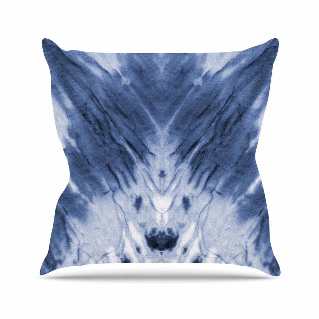 "Kess Original ""Blue Dye"" White Pattern Throw Pillow - KESS InHouse  - 1"