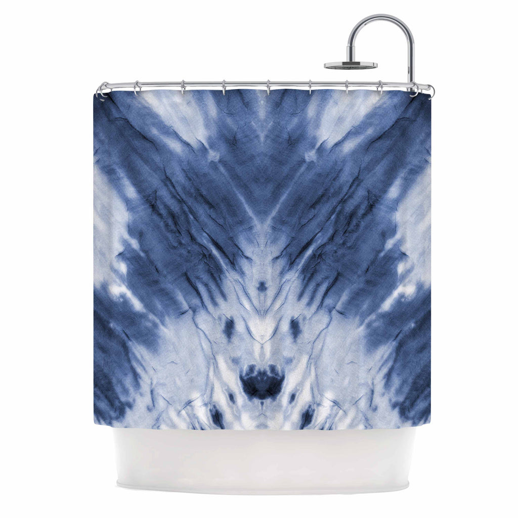 "Kess Original ""Blue Dye"" White Pattern Shower Curtain - KESS InHouse"