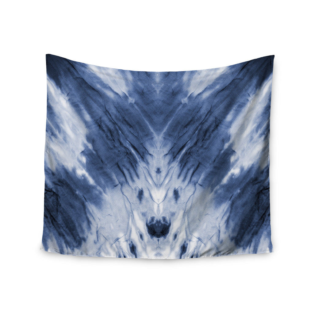 "Kess Original ""Blue Dye"" White Pattern Wall Tapestry - KESS InHouse  - 1"
