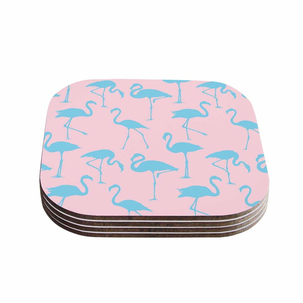 "Kess Original ""Blue On Pink"" Blue Animals Coasters (Set of 4)"