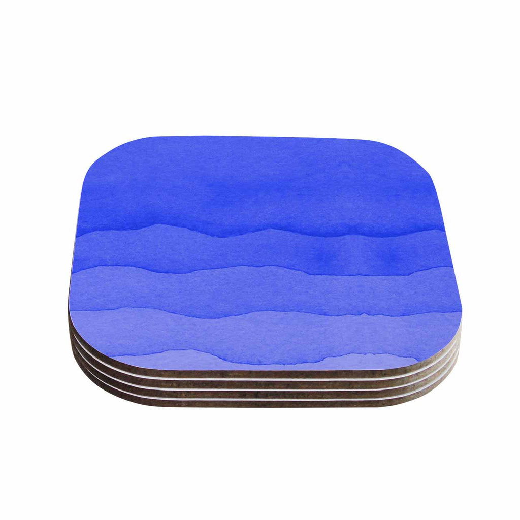 "Kess Original ""Ombre Berry"" Blue Digital Coasters (Set of 4)"