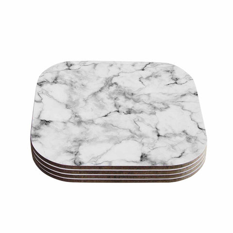 "Kess Original ""White Marble"" Gray White Coasters (Set of 4) - Outlet Item"