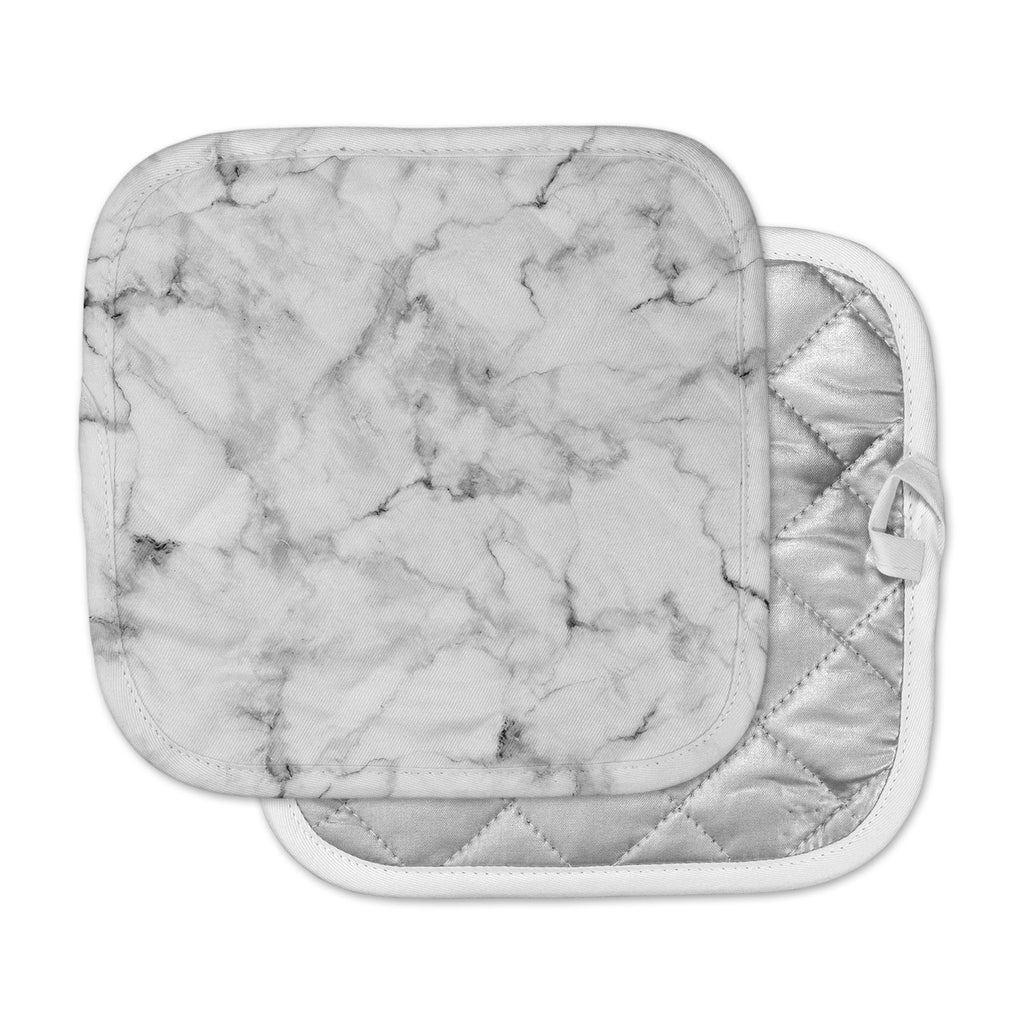 "Kess Original ""White Marble"" Gray White Pot Holder"