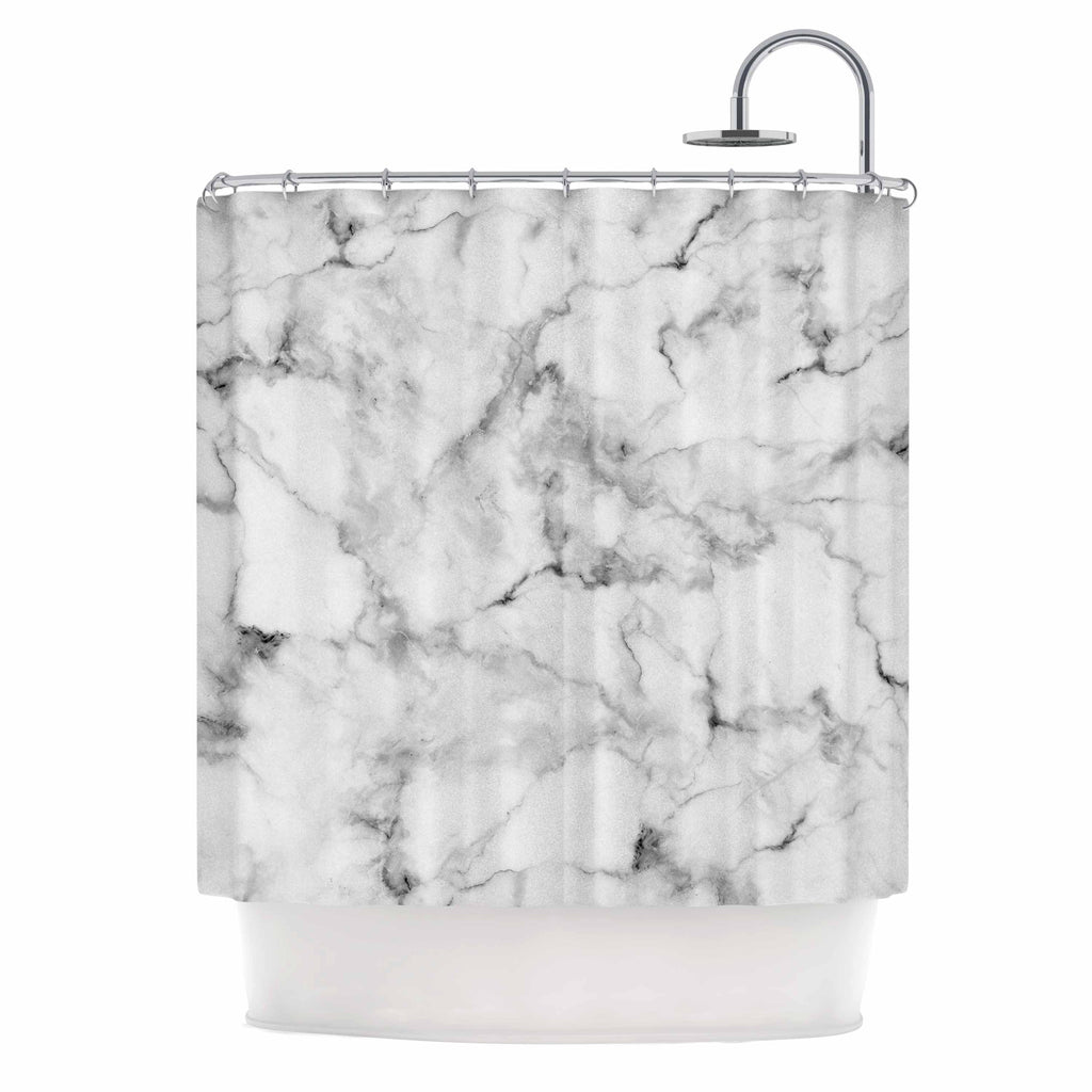 White Marble Shower Curtain By Kess Original Kess Inhouse