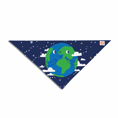 "Kess Original ""Happy Earth"" Blue Green Pet Bandana - Outlet Item"