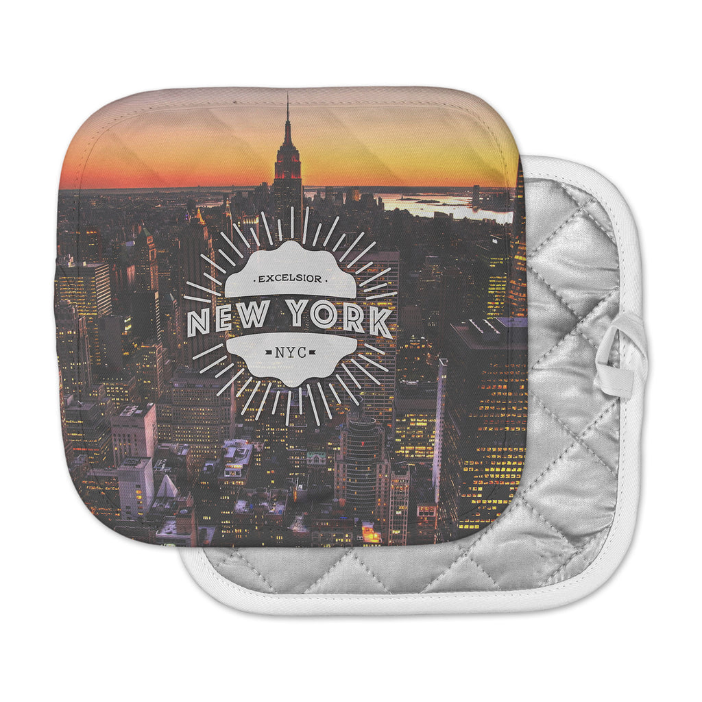 "Kess Original ""New York"" Orange Black Pot Holder"