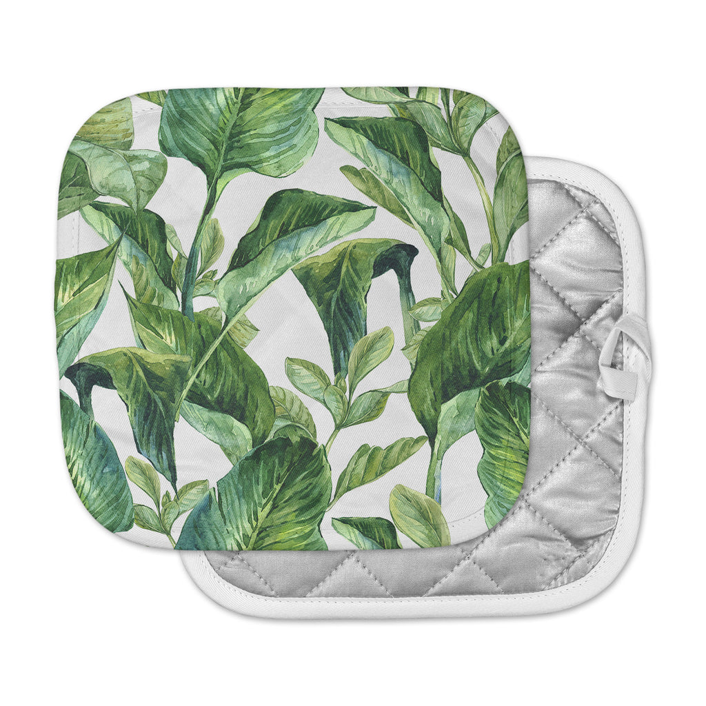 "Kess Original ""Banana Leaves"" Green White Pot Holder"