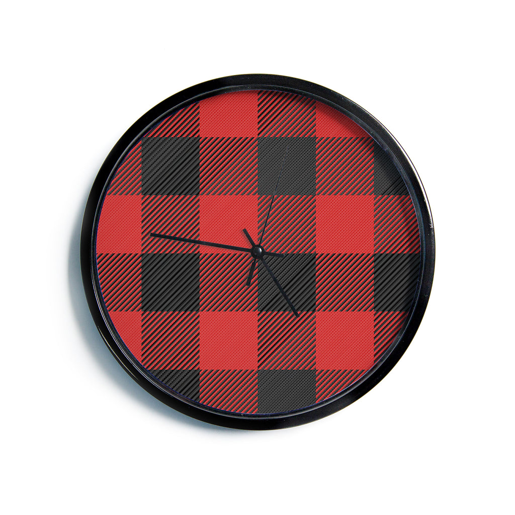 "Kess Original ""Black And Red Plaid"" Black Red Pattern Digital Modern Wall Clock"