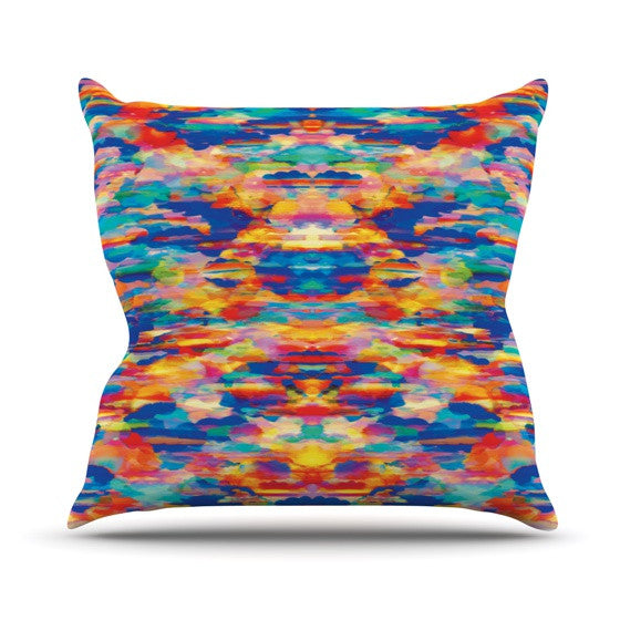 "Kathryn Pledger ""Cloud Nine"" Orange Multicolor Pattern Outdoor Throw Pillow"