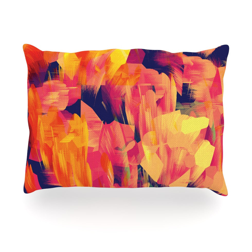 "Kathryn Pledger ""Geo Flower"" Orange Yellow Abstract Oblong Pillow"
