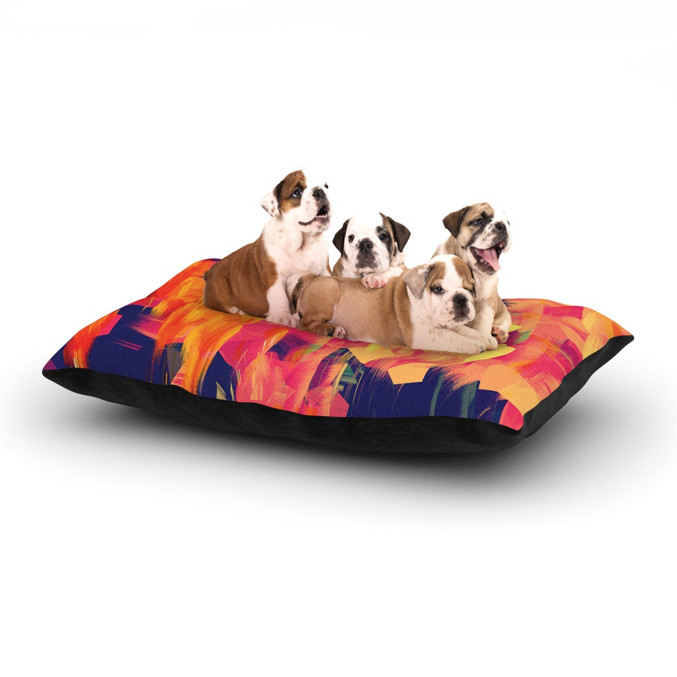 "Kathryn Pledger ""Geo Flower"" Orange Yellow Abstract Dog Bed"