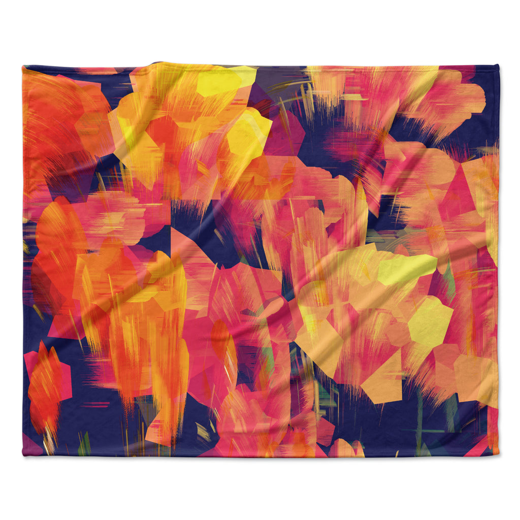 "Kathryn Pledger ""Geo Flower"" Fleece Throw  Blanket"
