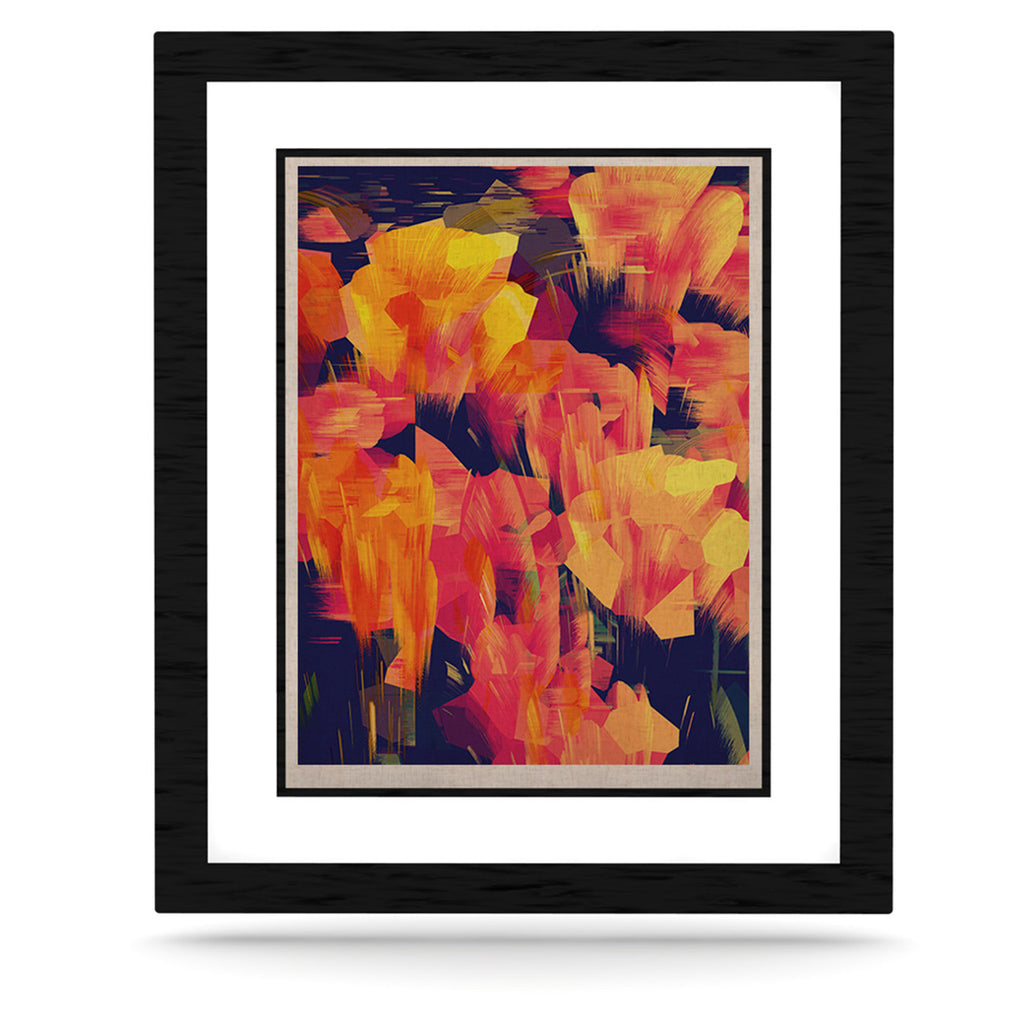 "Kathryn Pledger ""Geo Flower"" Orange Yellow Abstract KESS Naturals Canvas (Frame not Included)"