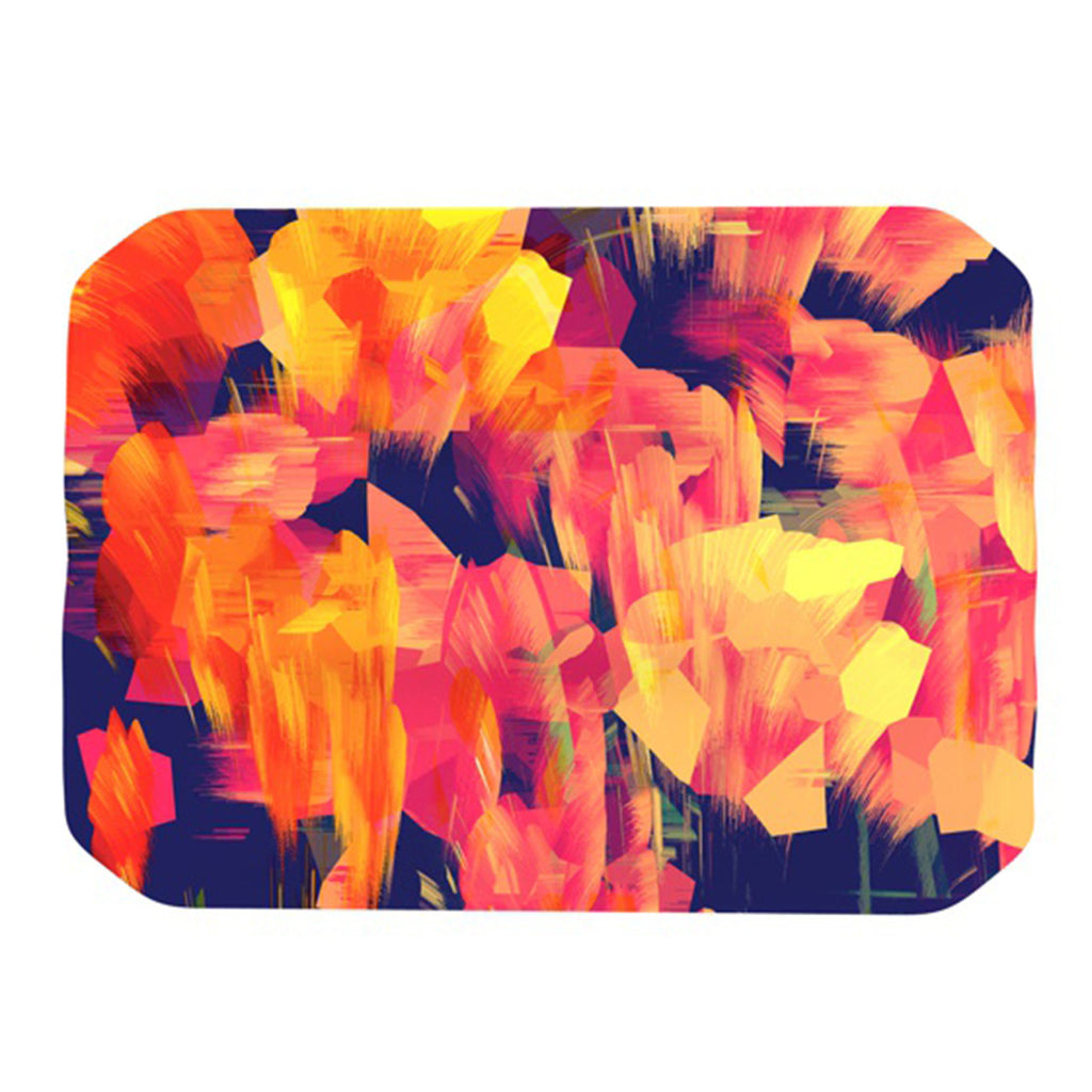 "Kathryn Pledger ""Geo Flower"" Orange Yellow Abstract Place Mat"