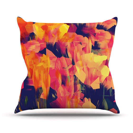 "Kathryn Pledger ""Geo Flower"" Orange Yellow Abstract Outdoor Throw Pillow"