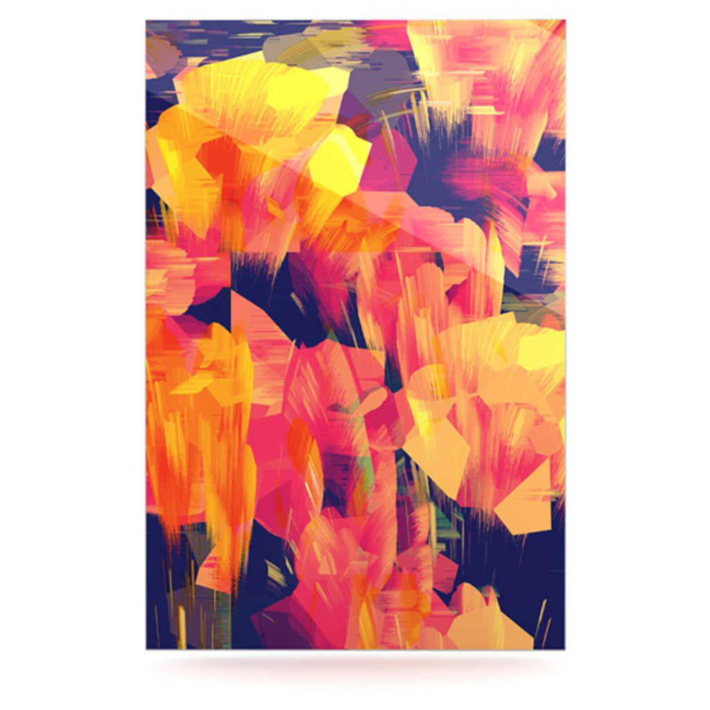 "Kathryn Pledger ""Geo Flower"" Orange Yellow Abstract Luxe Rectangle Panel"
