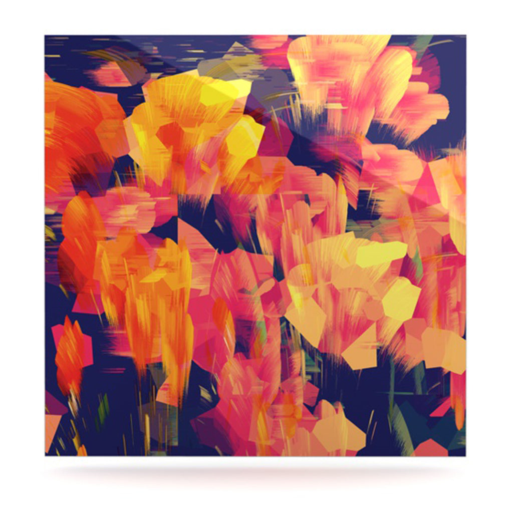 "Kathryn Pledger ""Geo Flower"" Orange Yellow Abstract Luxe Square Panel"