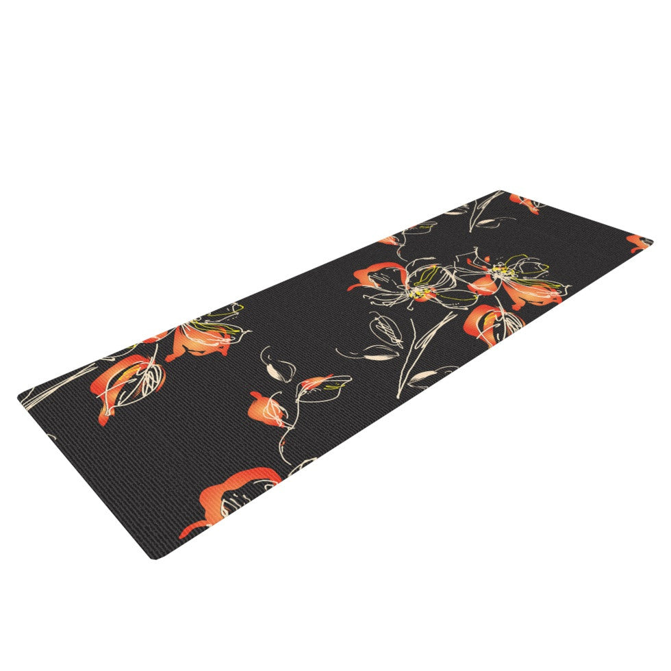 "Louise ""Blackflower"" Black Orange Yoga Mat - KESS InHouse  - 1"