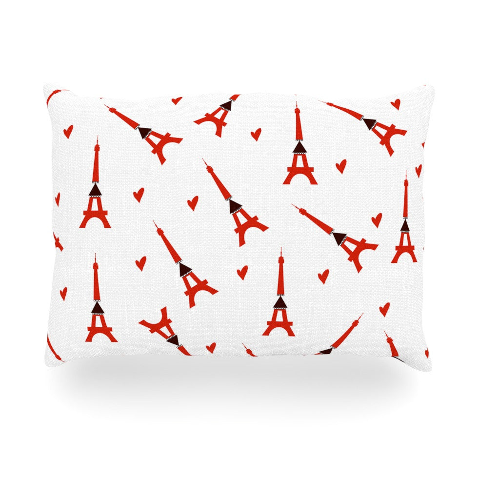 "Louise ""Paris"" White Red Oblong Pillow - KESS InHouse"