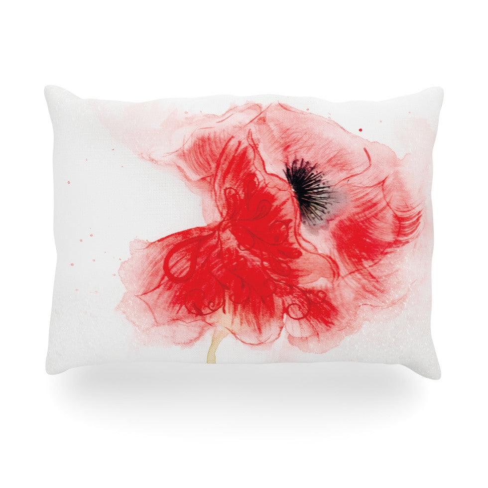 "Louise ""Poppy"" Pink Floral Oblong Pillow - KESS InHouse"