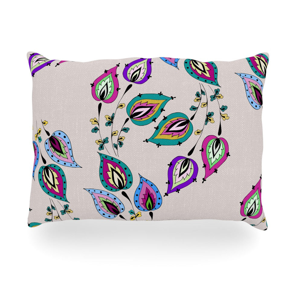 "Louise ""Leave"" Pink Oblong Pillow - KESS InHouse"