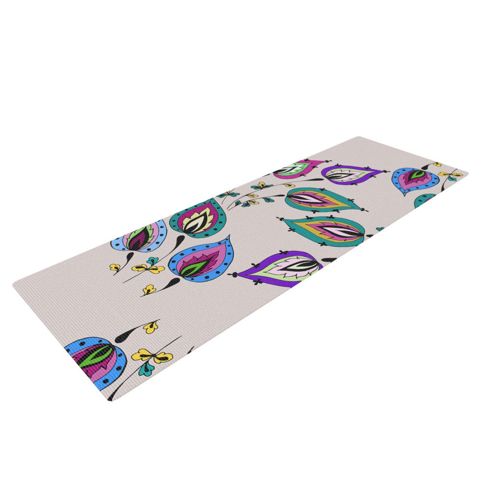 "Louise ""Leave"" Pink Yoga Mat - KESS InHouse  - 1"