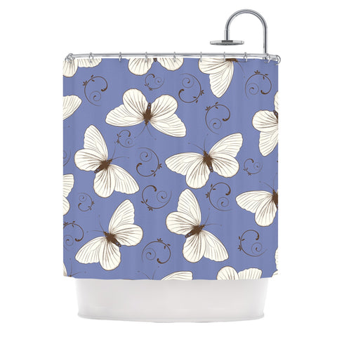 "Louise ""Butterflies"" Blue Shower Curtain - Outlet Item - KESS InHouse"