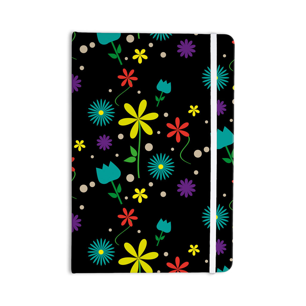 "Louise ""Flower I"" Black Multicolor Everything Notebook - KESS InHouse  - 1"