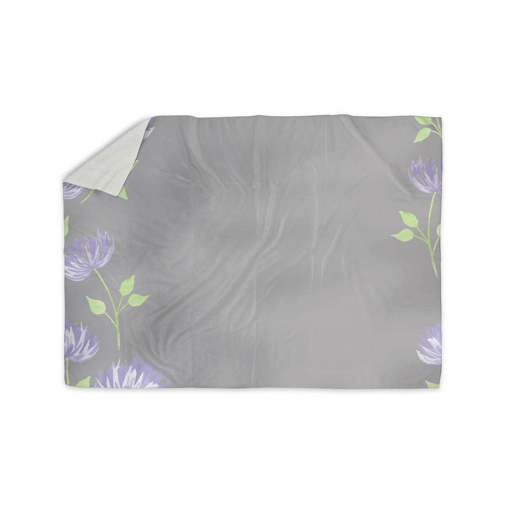 "Louise ""Flower II"" Gray Purple Sherpa Blanket - KESS InHouse  - 1"