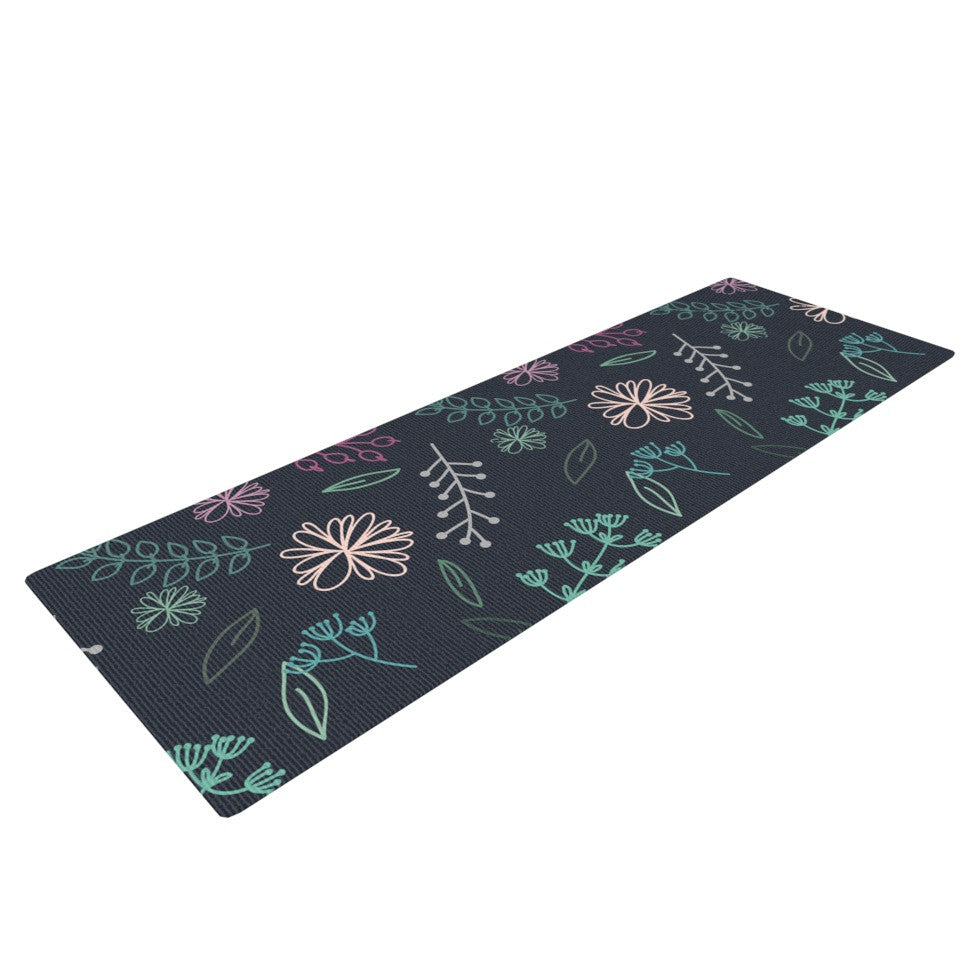 "Louise ""Flower III"" Blue Teal Yoga Mat - KESS InHouse  - 1"