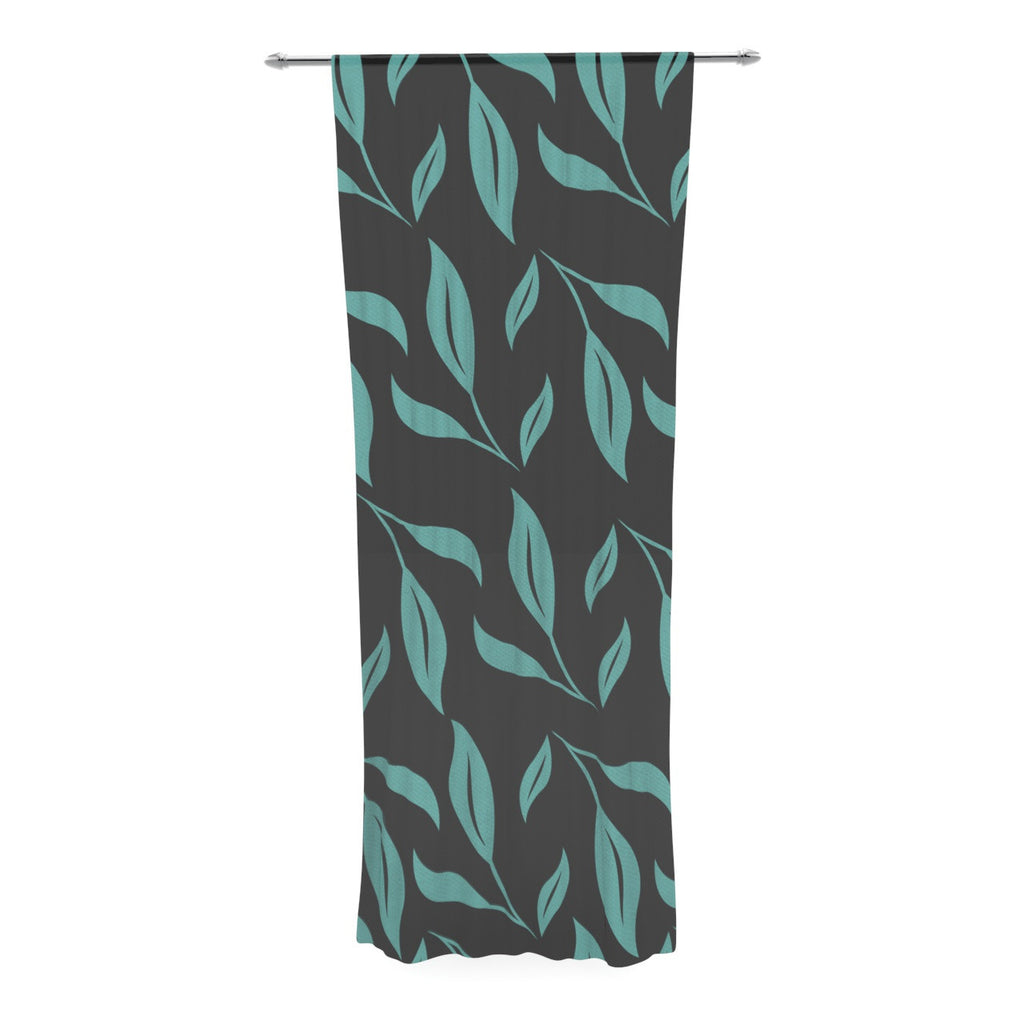 "Louise ""Unnamed"" Blue Black Decorative Sheer Curtain - KESS InHouse  - 1"
