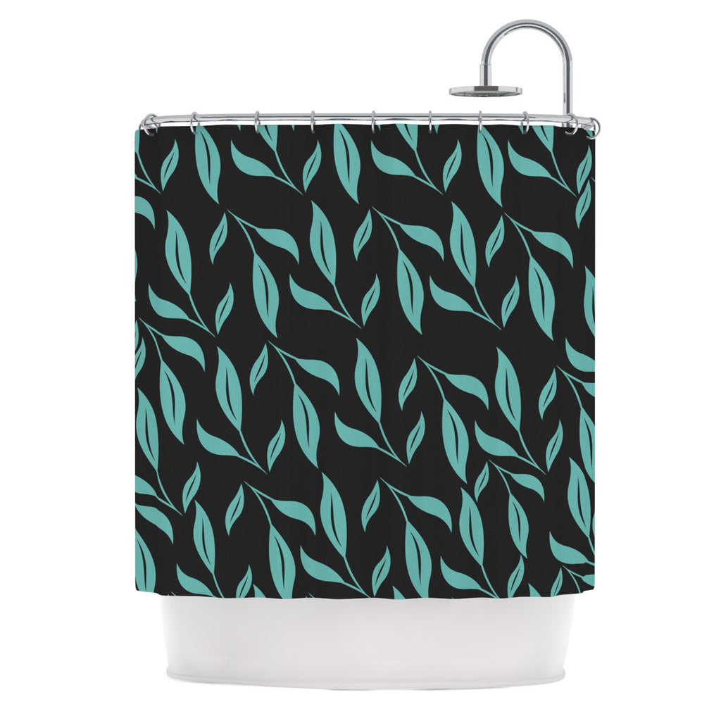 "Louise ""Unnamed"" Blue Black Shower Curtain - KESS InHouse"