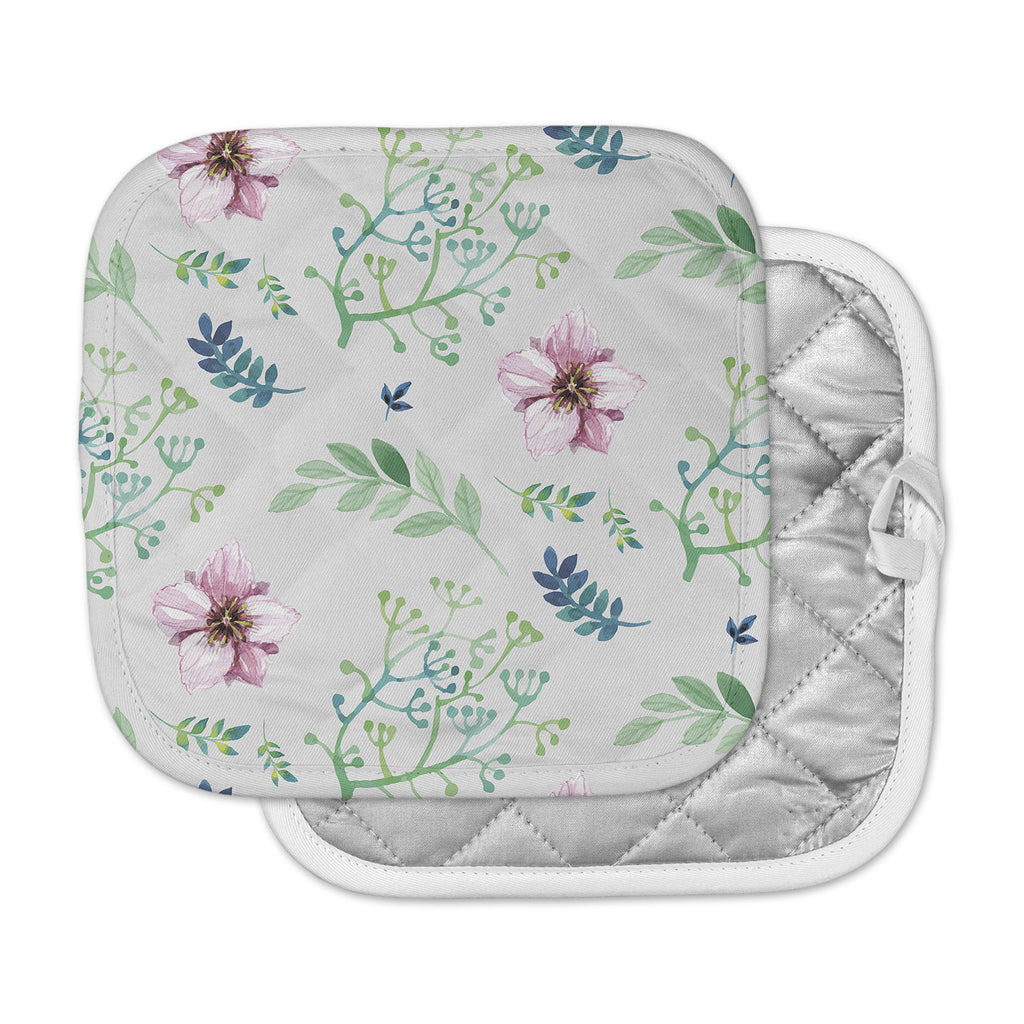 "Louise ""Summer Flower Pattern"" PInk Green Pot Holder"