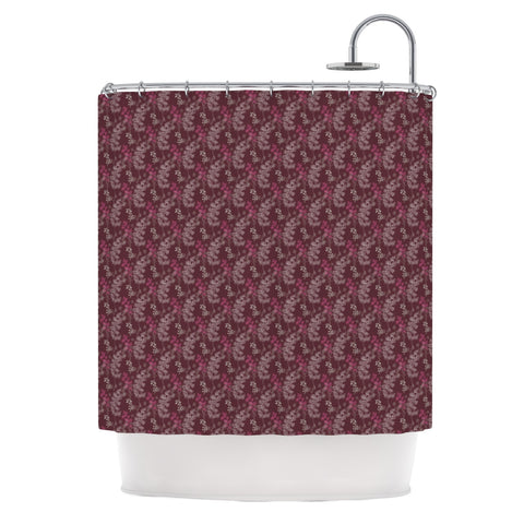 "Laurie Baars ""Ferns Vines Bordeaux"" Maroon Floral Shower Curtain - Outlet Item - KESS InHouse"