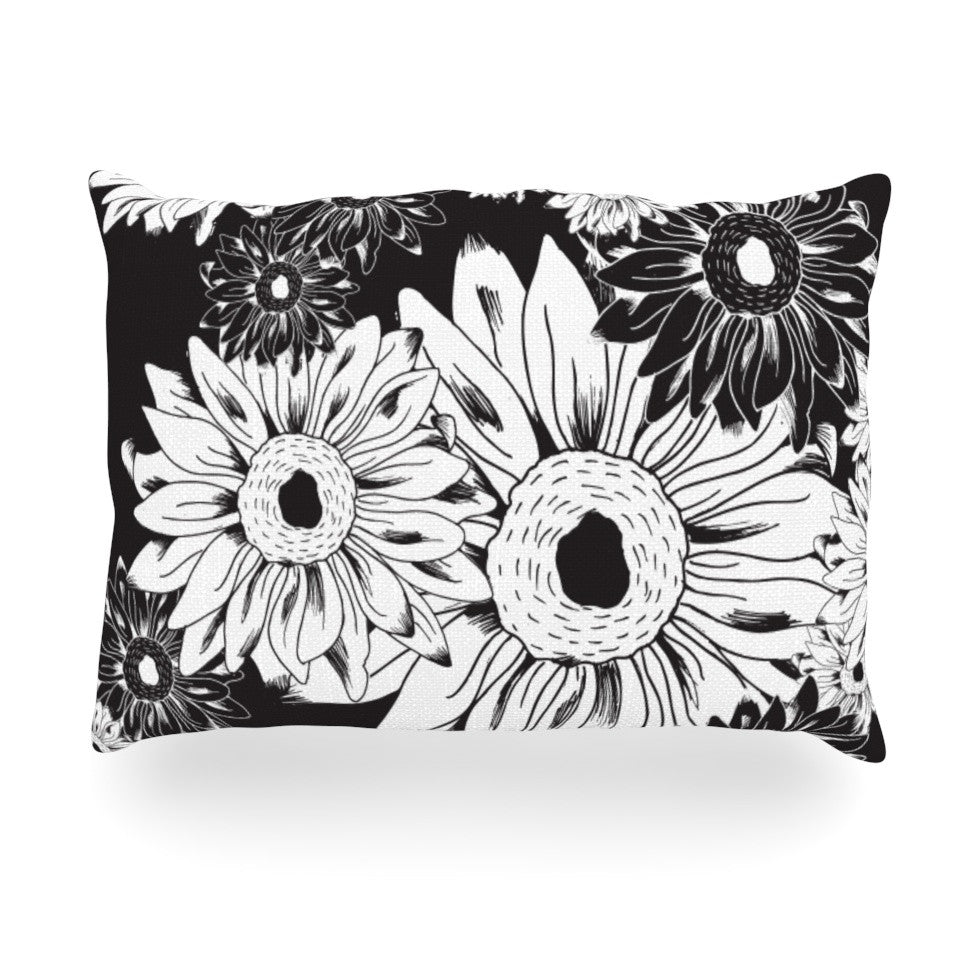 "Laura Escalante ""Midnight Florals"" Black Sunflower Oblong Pillow - KESS InHouse"