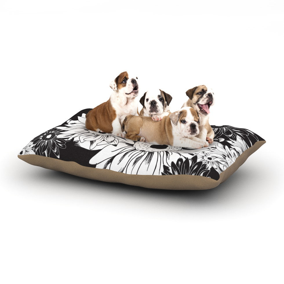 "Laura Escalante ""Midnight Florals"" Black Sunflower Dog Bed - KESS InHouse  - 1"