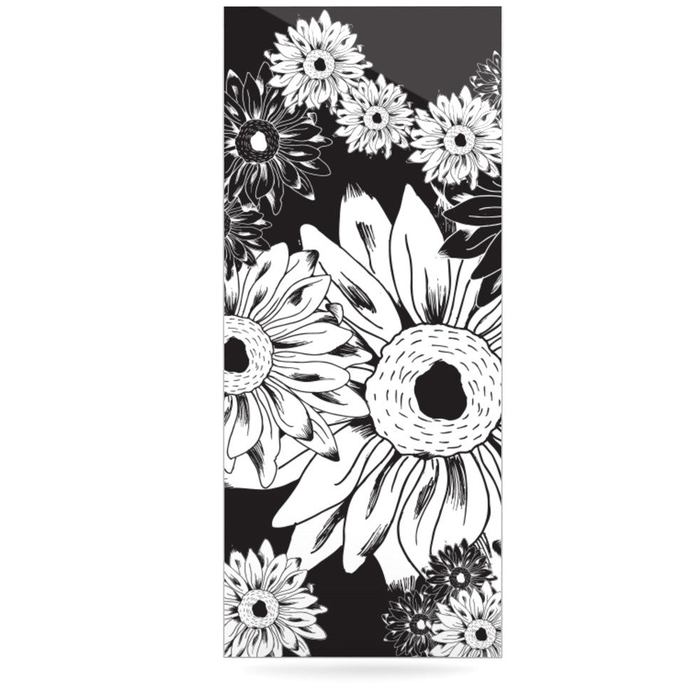 "Laura Escalante ""Midnight Florals"" Black Sunflower Luxe Rectangle Panel - KESS InHouse  - 1"