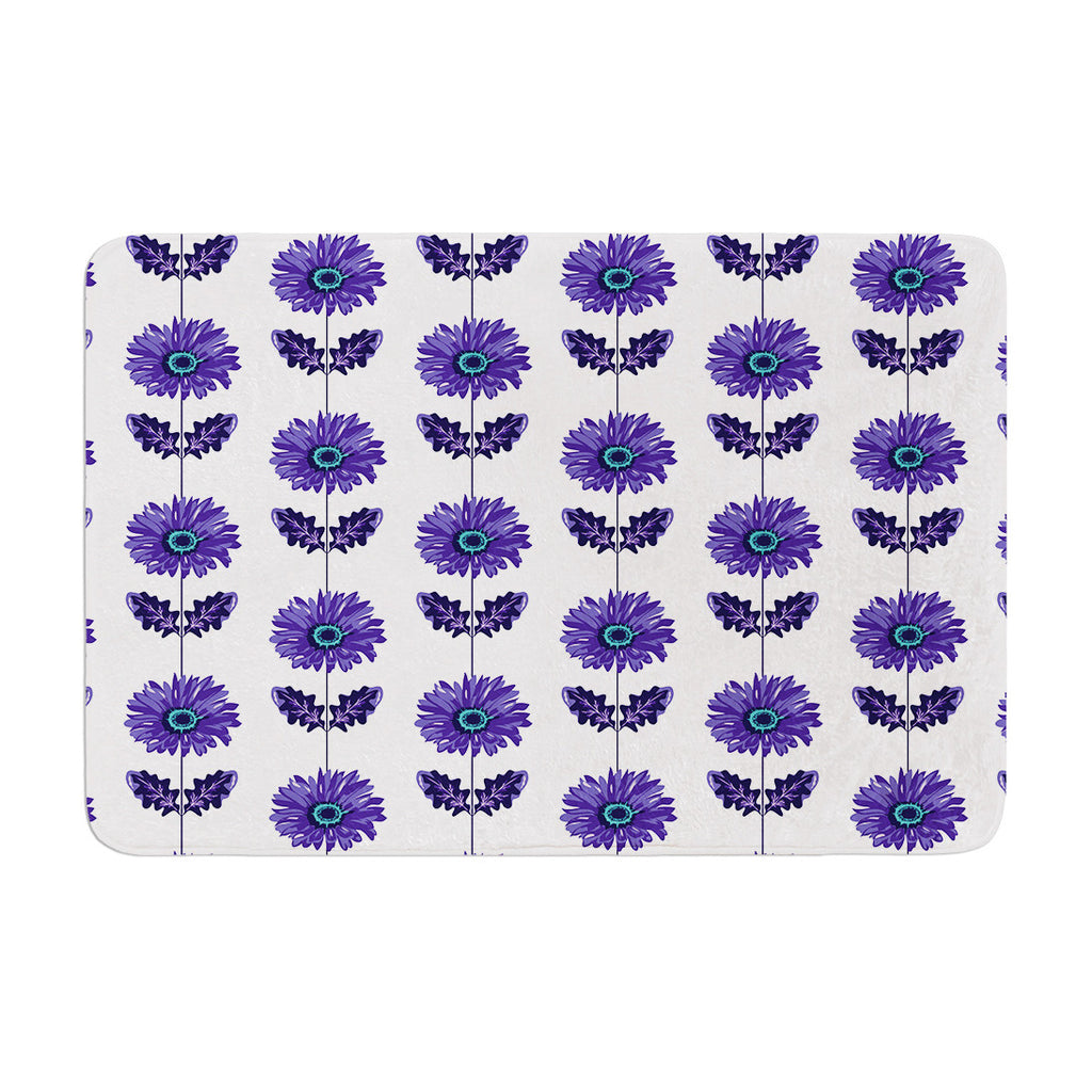 "Laura Escalante ""Purple Gerbera"" Lavender Flower Memory Foam Bath Mat - KESS InHouse"