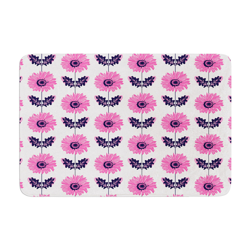"Laura Escalante ""Pink Gerbera"" Purple Flower Memory Foam Bath Mat - KESS InHouse"