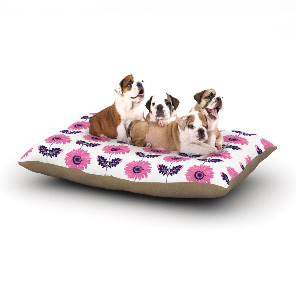 "Laura Escalante ""Pink Gerbera"" Purple Flower Dog Bed - KESS InHouse  - 1"