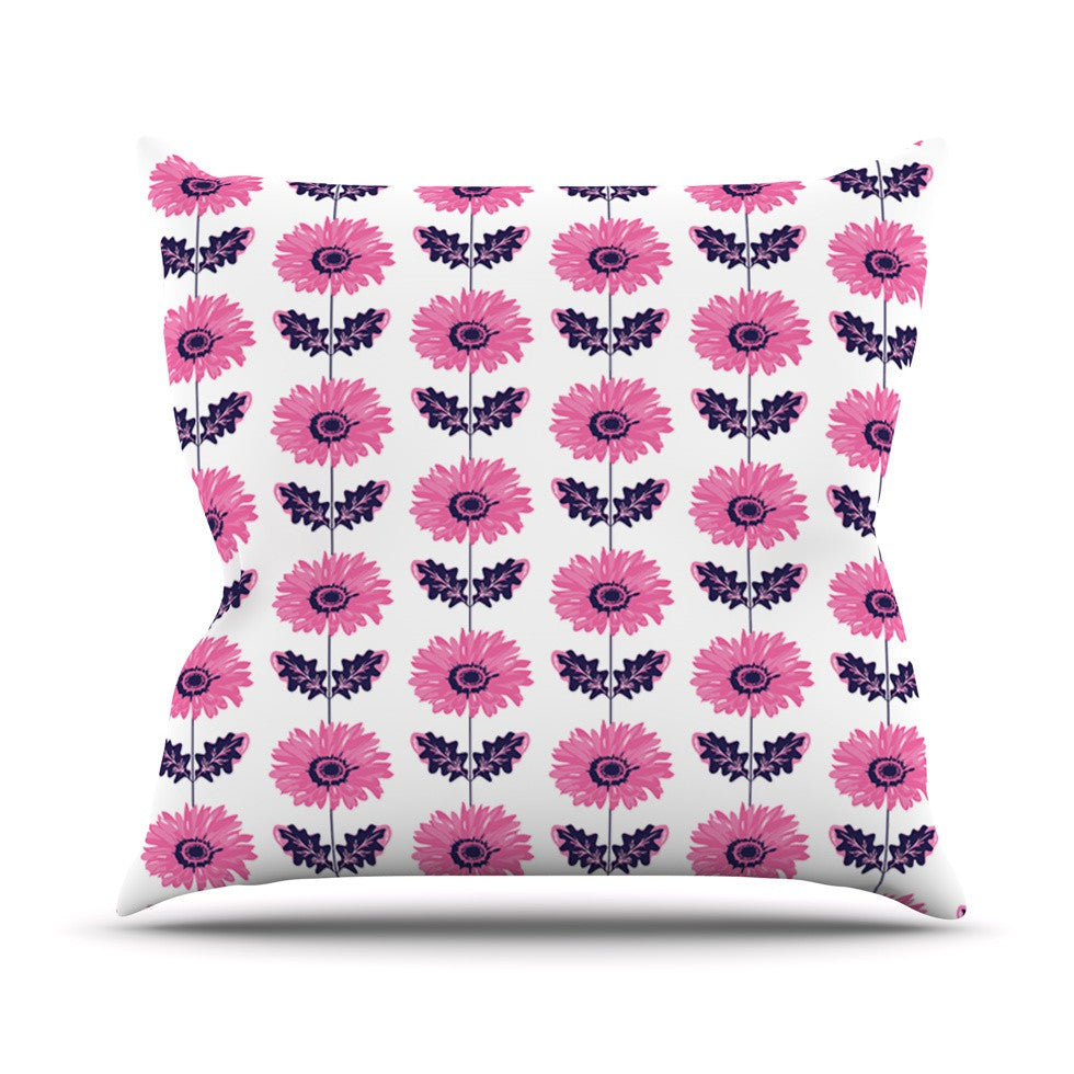 "Laura Escalante ""Pink Gerbera"" Purple Flower Throw Pillow - KESS InHouse  - 1"
