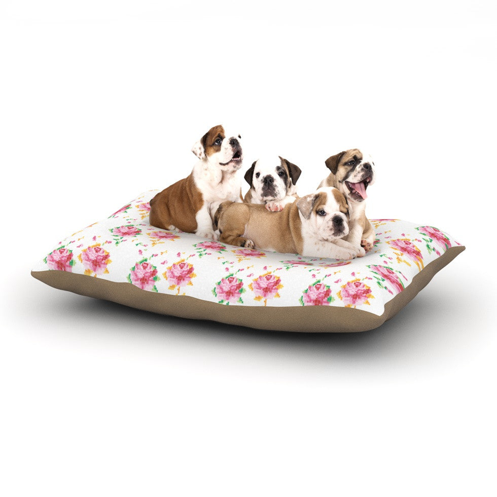 "Laura Escalante ""Cross Stitch Flowers"" White Pink Dog Bed - KESS InHouse  - 1"