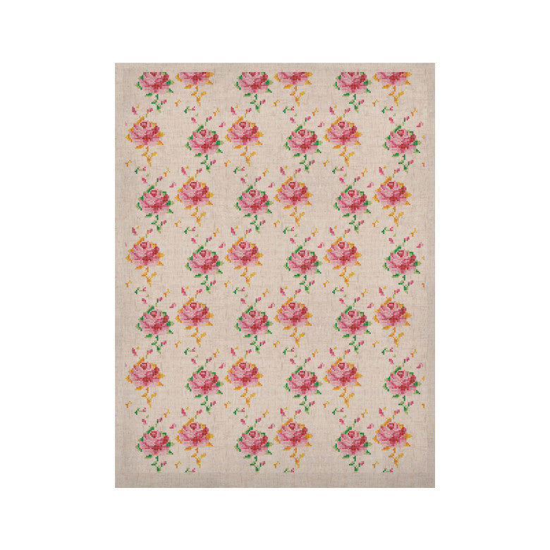 "Laura Escalante ""Cross Stitch Flowers"" White Pink KESS Naturals Canvas (Frame not Included) - KESS InHouse  - 1"