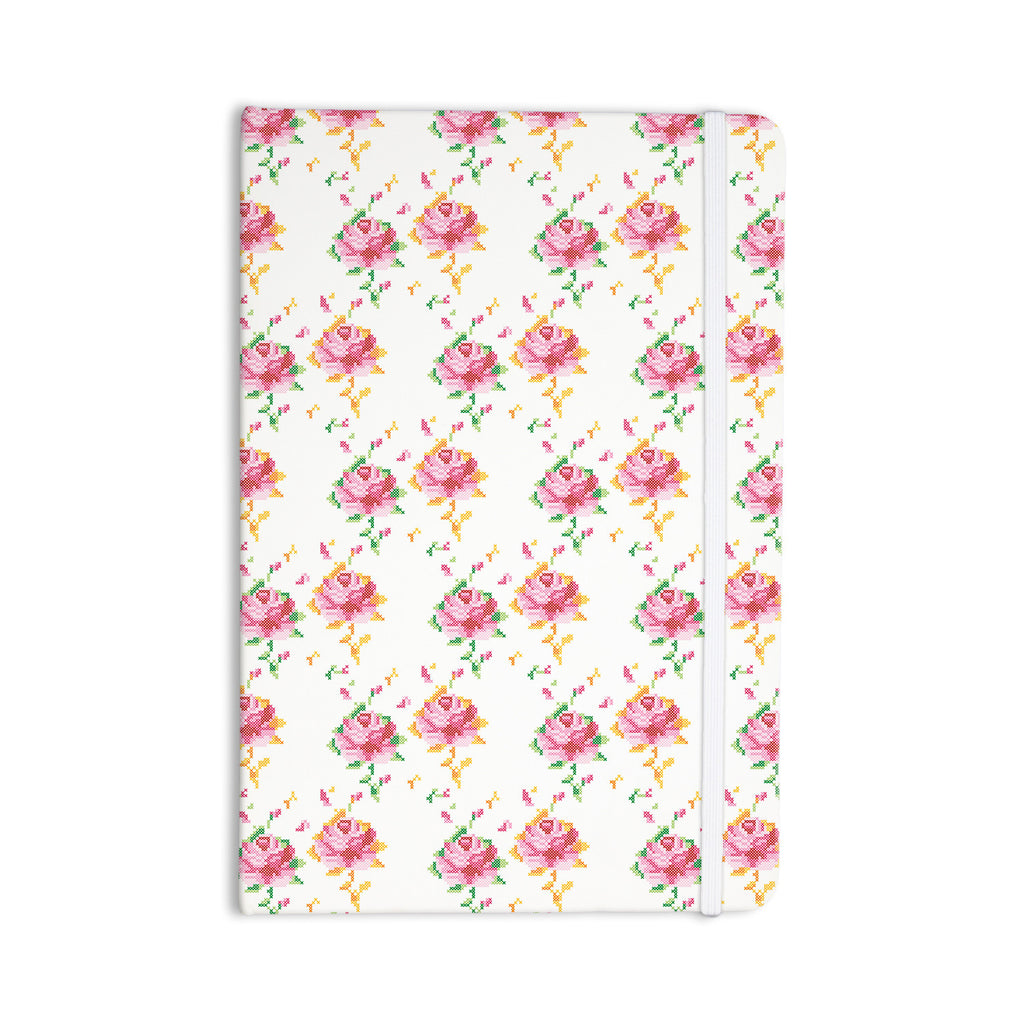 "Laura Escalante ""Cross Stitch Flowers"" White Pink Everything Notebook - KESS InHouse  - 1"