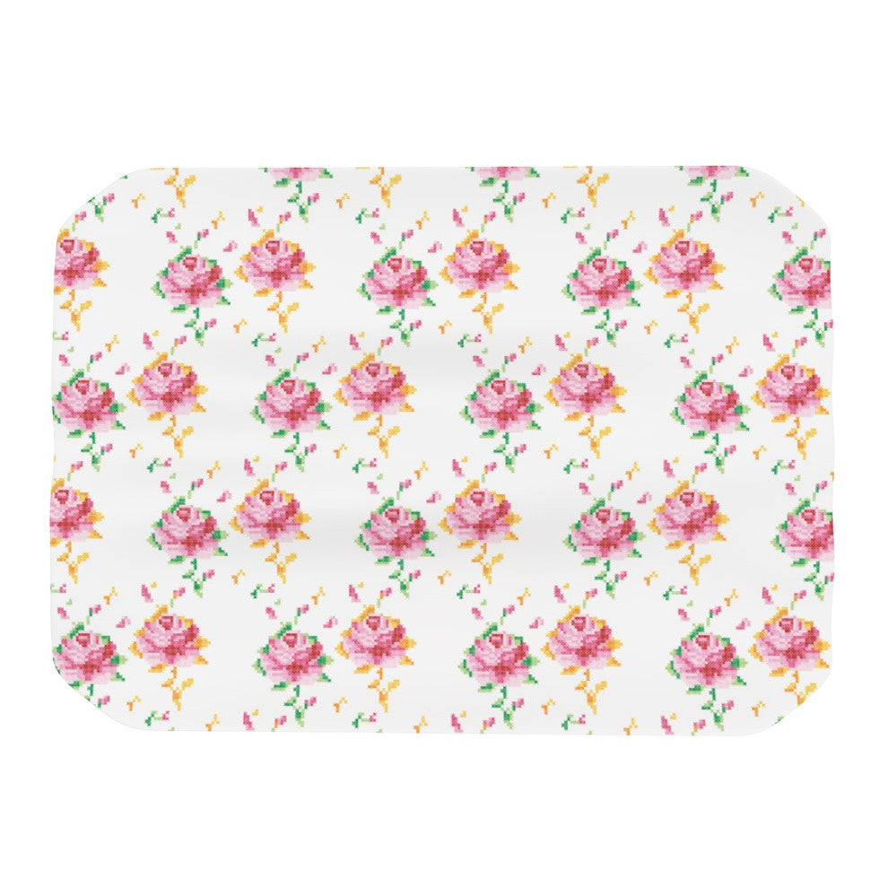 "Laura Escalante ""Cross Stitch Flowers"" White Pink Place Mat - KESS InHouse"